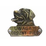 """Знак """"Злая собака"""" ротвейлер бронза"""